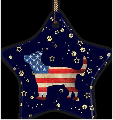 Terrier Mix USA Ceramic Star Ornament