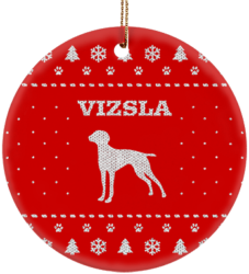 Vizsla Holiday Ceramic Circle Ornament
