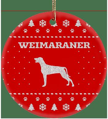 Weimaraner Holiday Ceramic Circle Ornament