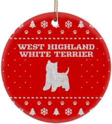 West Highland White Terrier Holiday Ceramic Circle Ornament