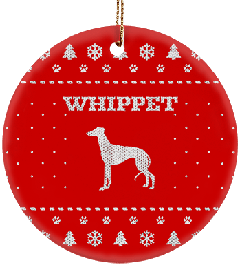 Whippet Holiday Ceramic Circle Ornament