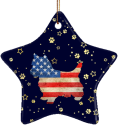 Yorkie USA Ceramic Star Ornament
