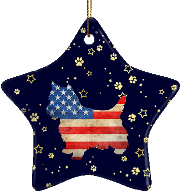 Yorkie USA Ceramic Star Ornament