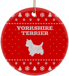 Yorkshire Terrier Holiday Ceramic Circle Ornament