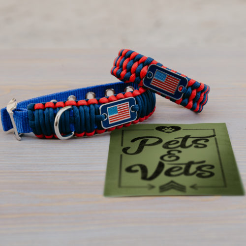 Large Dog Collar & Red/Blue Matching Bracelet Gift Pack: Each Purchase Helps Pair a Veteran with a Companion Dog