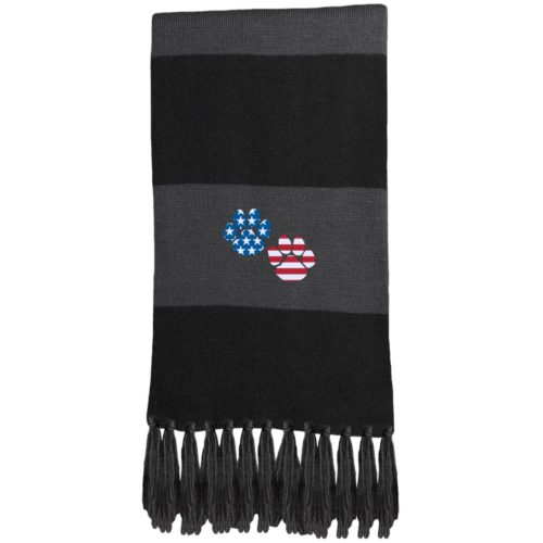Flag Paws USA Embroidered Fringed Scarf