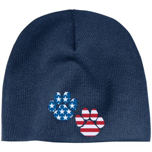 Flag Paws USA Embroidered Beanie