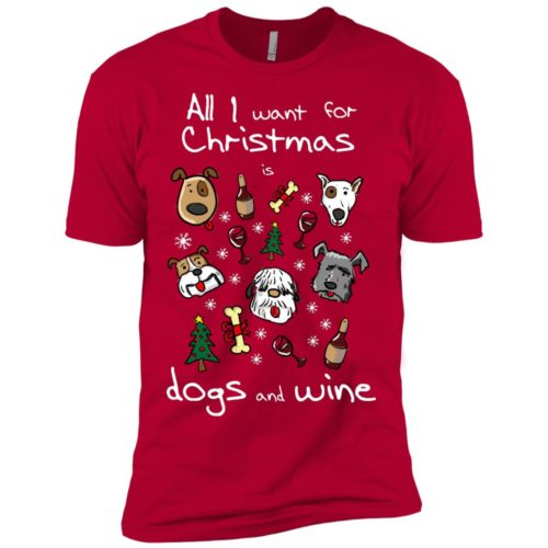 Dogs & Wine For Christmas Premium T-Shirt