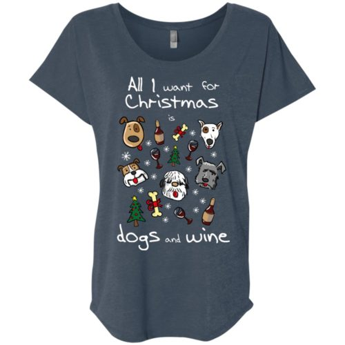 Dogs & Wine For Christmas Ladies' Slouchy T-Shirt