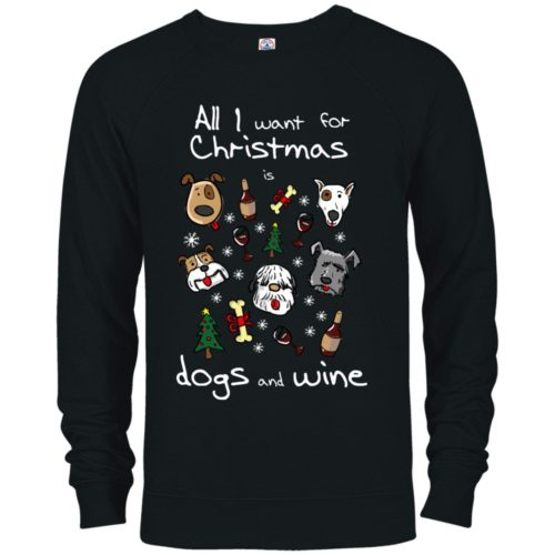 Dogs & Wine For Christmas Premium Crew Neck Sweatshirt