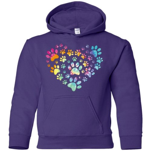 Heart Paw Tie Dye Youth Pullover Hoodie