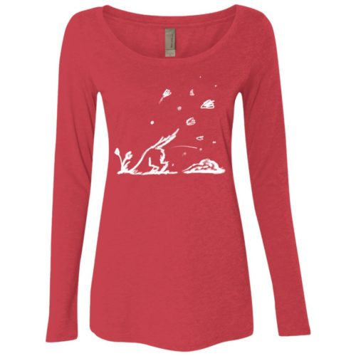 Digging Dog Sketch Fitted Scoop Neck Long Sleeve
