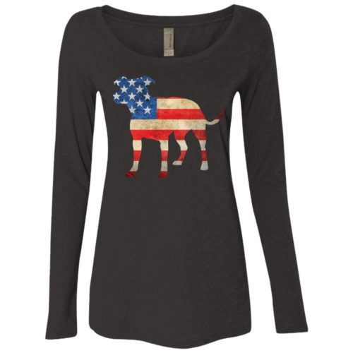 Vintage Pit Mix USA Fitted Scoop Neck Long Sleeve