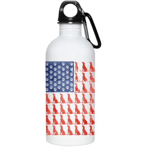 Red Dog Blue Paw Flag Stainless Steel Water Bottle