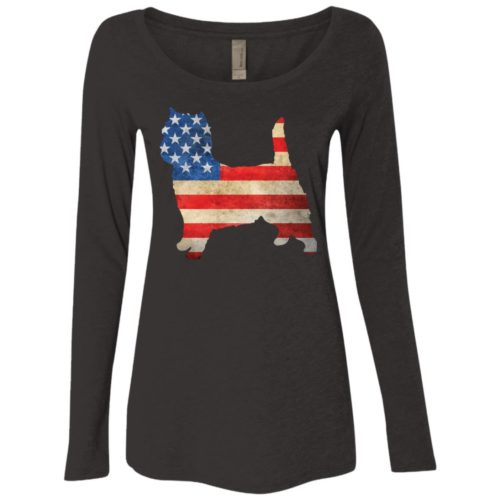 Vintage Cairn Terrier USA Fitted Scoop Neck Long Sleeve