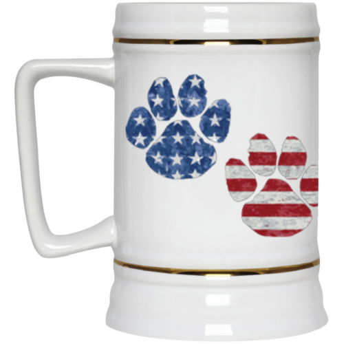 Flag Paws USA Beer Stein 22oz.