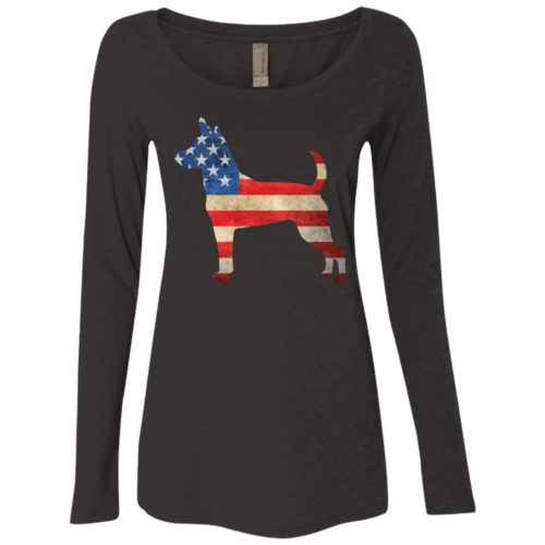 Vintage Rat Terrier USA Fitted Scoop Neck Long Sleeve