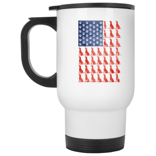 Red Dog Blue Paw Flag Stainless Steel Travel Mug