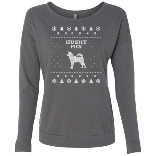 Husky Mix Christmas Ladies' Scoop Neck Sweatshirt