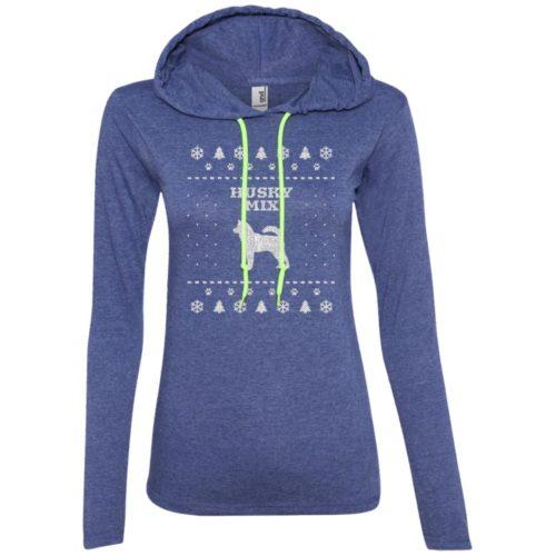 Husky Mix Christmas Ladies' Lightweight T-Shirt Hoodie