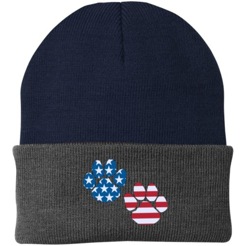 Flag Paws USA Embroidered Folded Knit Cap