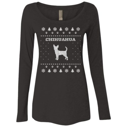 Chihuahua Christmas Fitted Scoop Neck Long Sleeve