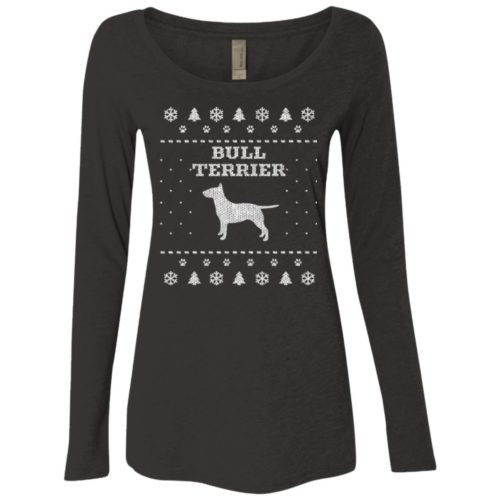 Bull Terrier Christmas Fitted Scoop Neck Long Sleeve