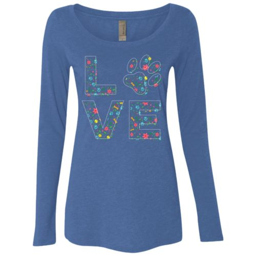 Love Paw Floral Fitted Scoop Neck Long Sleeve