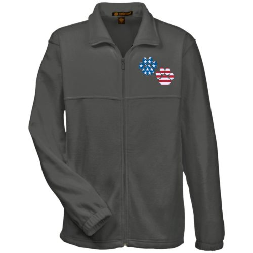 Flag Paws USA Embroidered Fleece Full Zip Jacket