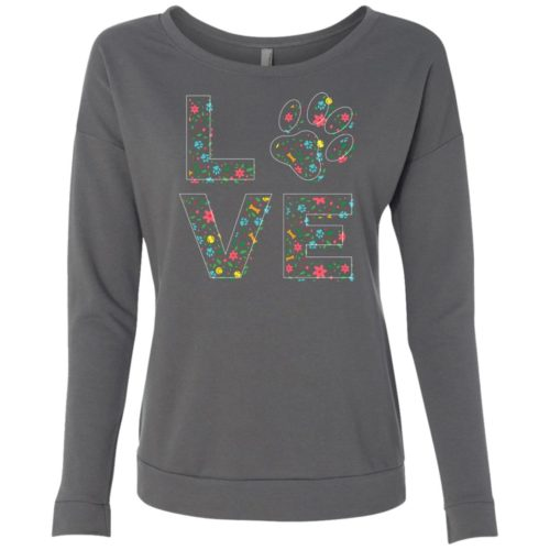 Love Paw Floral Scoop Neck Sweatshirt