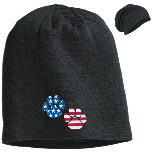 Flag Paws USA Embroidered Slouch Beanie