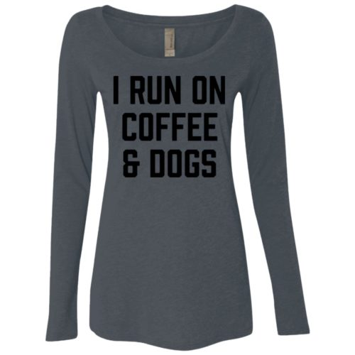 I Run On Coffee Fitted Scoop Neck Long Sleeve