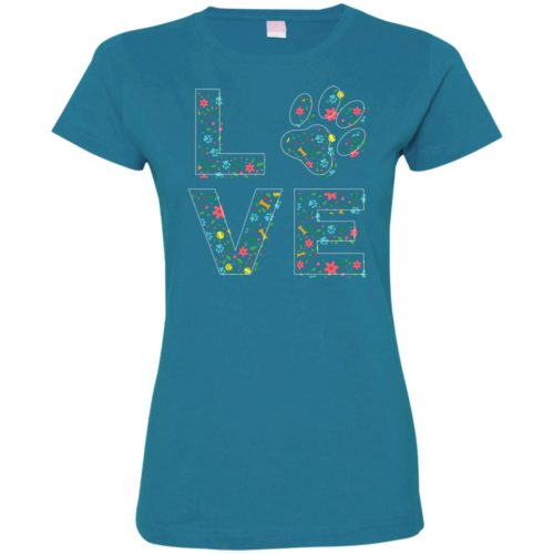 Love Paw Floral Fitted Tee