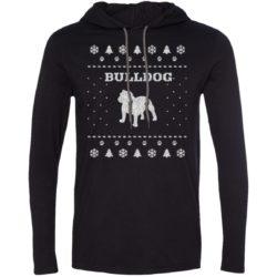 Bulldog Christmas Lightweight T-Shirt Hoodie