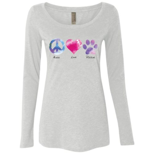 Peace Love Rescue Fitted Scoop Neck Long Sleeve