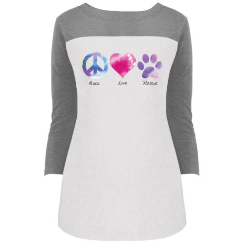 Peace Love Rescue Colorblock 3/4 Sleeve