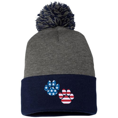 Flag Paws USA Embroidered Pom Pom Knit Cap