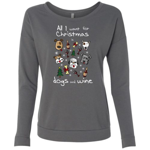 Dogs & Wine For Christmas Ladies' Scoop Neck Sweatshirt