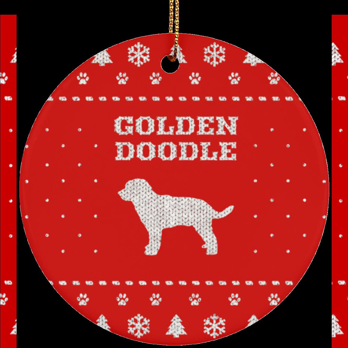 golden doodle holiday ceramic circle ornament iheartdogscom - Goldendoodle Christmas Ornament
