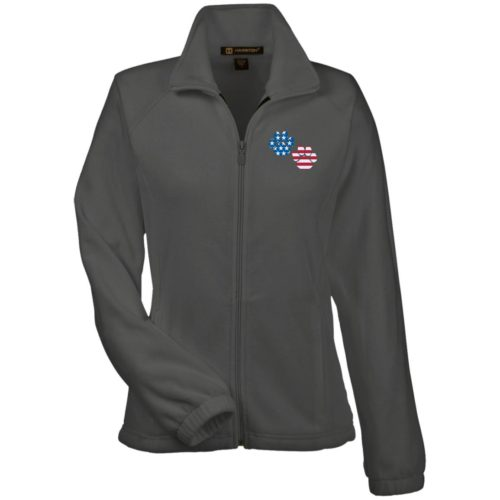 Flag Paws USA Embroidered Ladies' Fleece Full Zip Jacket