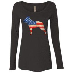 Vintage Boston Terrier USA Ladies' Scoop Neck Long Sleeve Shirt