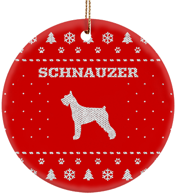 Schnauzer Holiday Ceramic Circle Ornament
