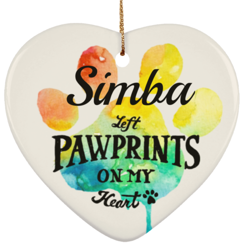 Pawprints On My Heart Personalized Ceramic Heart Ornament