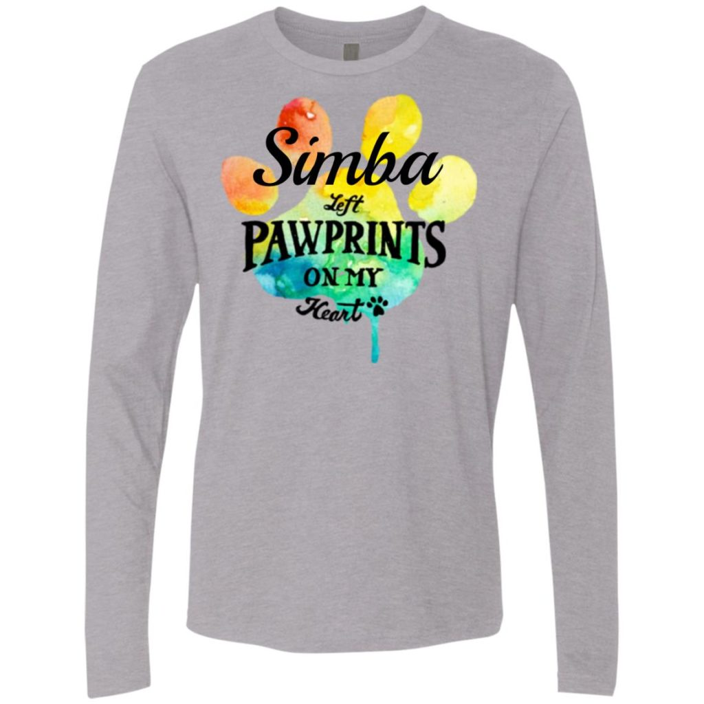 Rainbow Pawprints On My Heart Personalized Premium Long Sleeve Tee