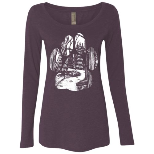 Forest Walk Paw Fitted Scoop Neck Long Sleeve
