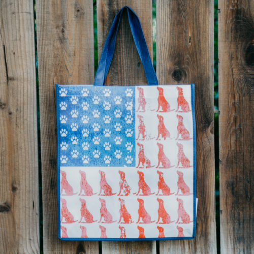 Red Dog Blue Paw Grocery Bag – Navy Blue Trim