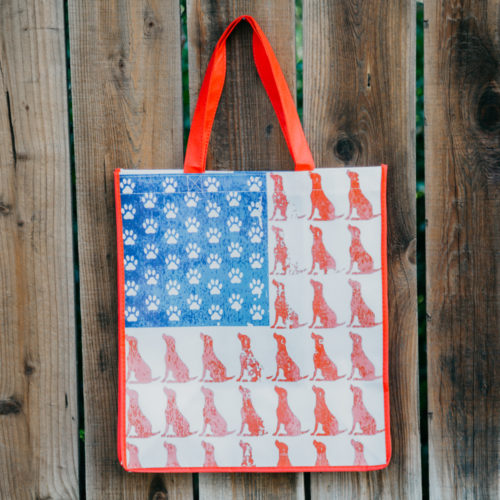 Red Dog Blue Paw Grocery Bag - Red Trim