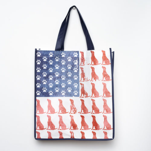 Red Dog Blue Paw Grocery Bag - Navy Blue Trim