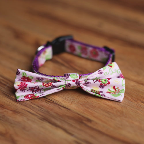 Adjustable Bow Tie Fancy Flowers Printed Dog Collar