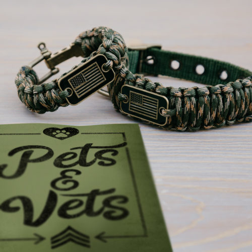 Medium Dog Collar & Camo Matching Bracelet Gift Pack: Each Purchase Helps Pair a Veteran with a Companion Dog